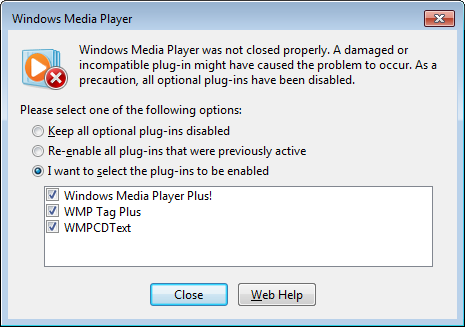 Windows Media Player 12 restart plug-ins
