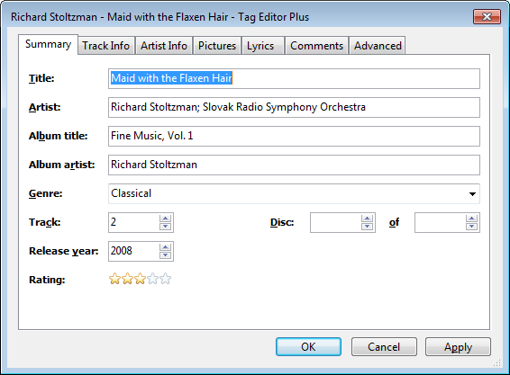 Windows Media Player Plus! Tag Editor